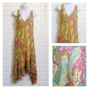 Ralph Lauren 100% silk bright paisley print dress